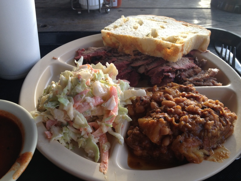 A classic plate of beef brisket at Houston's Goode Company Barbeque.