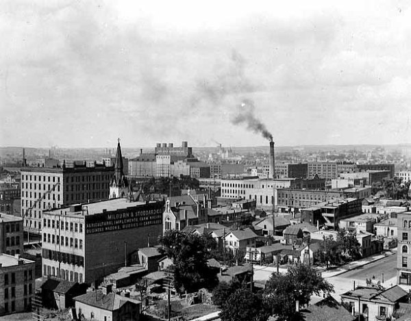 North Minneapolis business district from 2nd Av N and 3rd St ca 1895