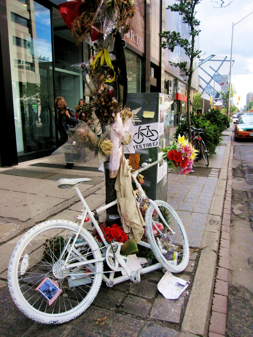 A memorial for a biker killed in a collision